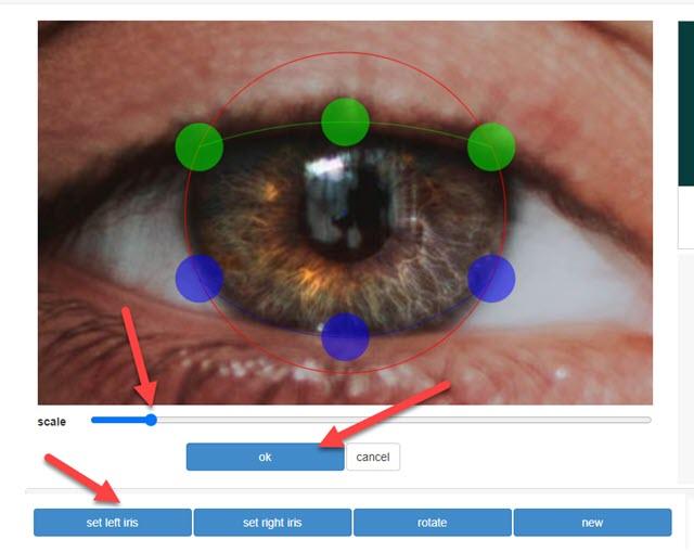 selezionare iride occhi