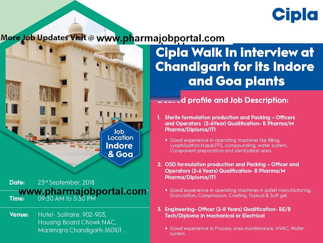 Cipla  Walk In Interview For Production, Packing, Engineering at 23 Sep