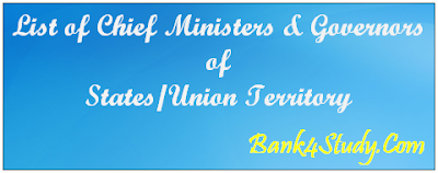 List of Current Chief Ministers & Governors Of States & Union Territory With Their Party