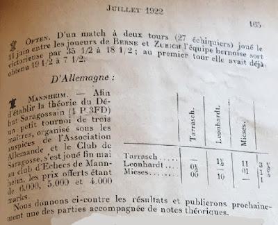 La Stratégie, julio de 1922, recorte de la página 165