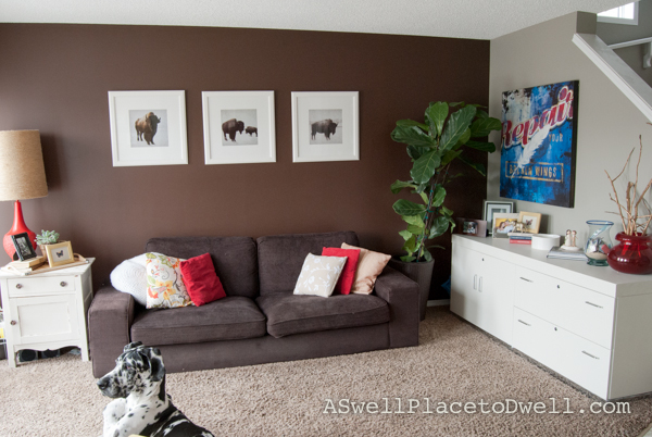 Brown & Grey Living Room at www.aswellplacetodwell.com