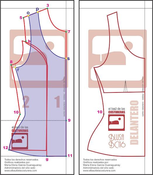 Blusa BC116 Trazado Molde de Costura