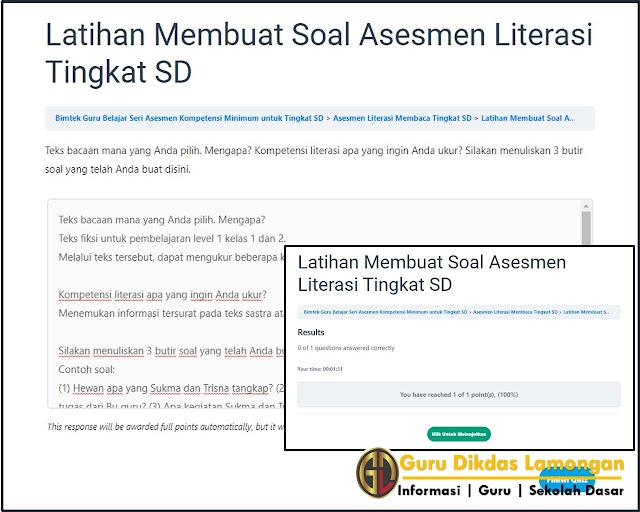 Referensi Jawaban Latihan Membuat Soal Asesmen Literasi Tingkat SD