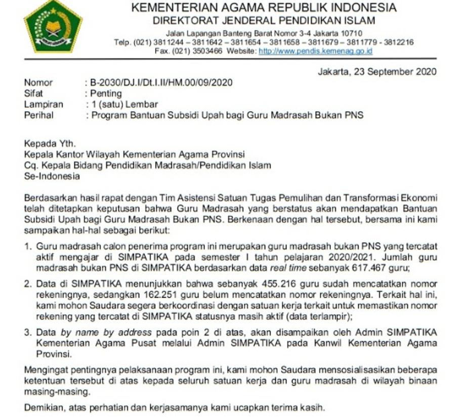 gambar Surat Edaran Program Bantuan Subsidi Gaji Guru Madrasah Bukan PNS Tahun 2020