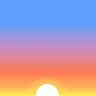 A simple pixel-art sunrise.