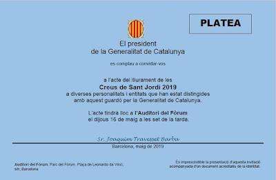 Invitación al acto de entrega de la Creu de Sant Jordi