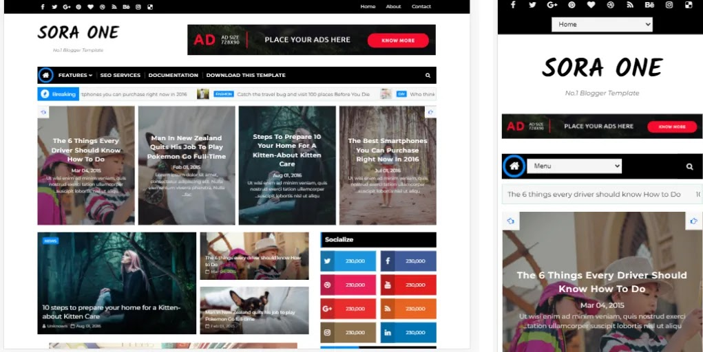 High Quality Sora One Blogger Template