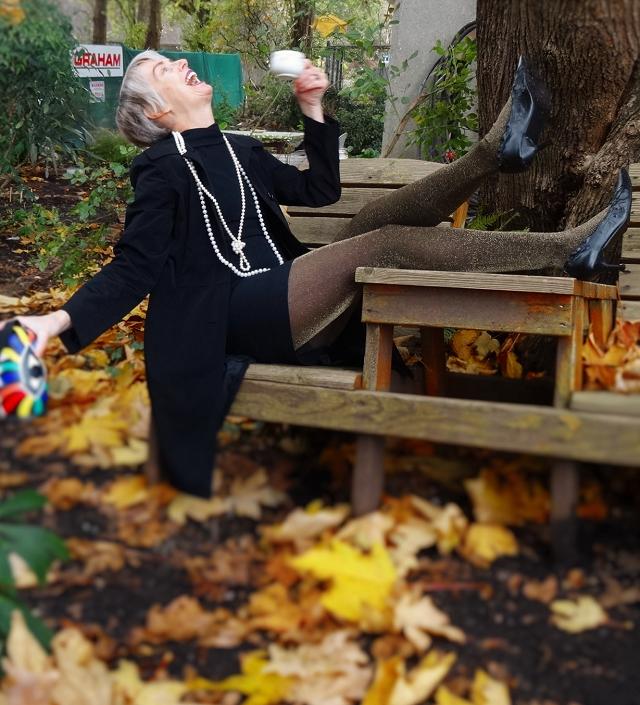 Bag and a Beret enjoying her tea in the garden