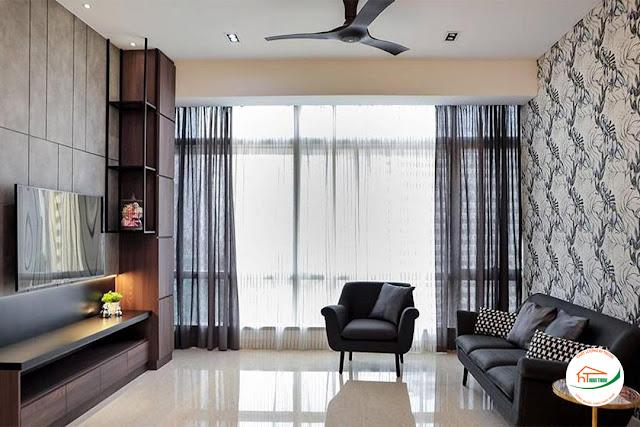 Nội thất phòng khách full cây đen trong căn hộ chung cư nhỏ