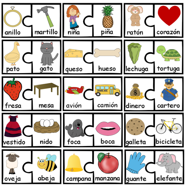 Free Rhyming Puzzles In Spanish  Each puzzle piece has picture and word of the item shown.  This activity can be completed in pairs, individually or during small group instruction.