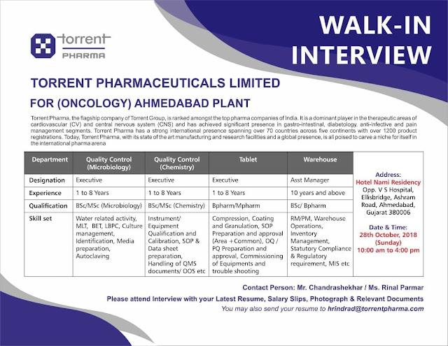 TORRENT PHARMACEUTICALS LTD Walk In Interview For Multiple Positions - M.Pharm, B.Pharm, M.Sc at 28 October