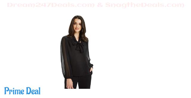 60%OFF Basic Model Bow Tie Neck Blouse for Women Long Sleeve