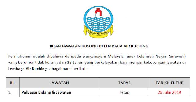 jawatan lembaga air kuching