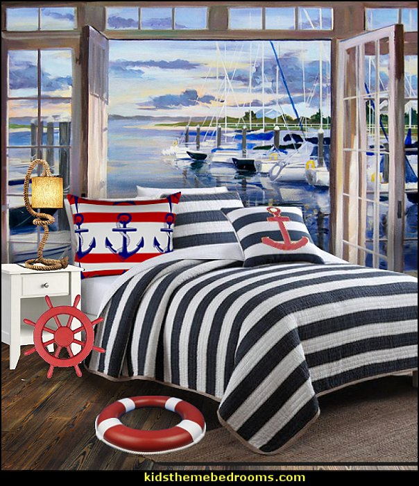 nautical style decorating nautical bedroom ideas - decorating nautical style bedrooms - nautical decor - sailing ship theme - coastal seaside beach theme - boat beds - beach house decorating -  Travelers and seafarers - nautical bedding - nautical bedroom furniture - compass wall sticker
