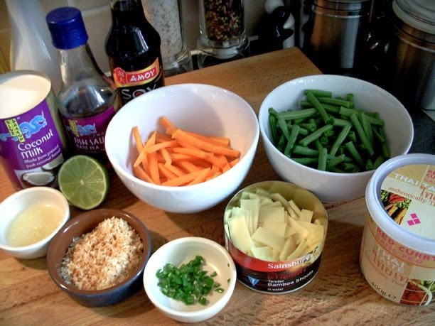 Ingredients for Thai Red Chicken Curry