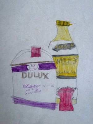 A 1971 drawing by a 7 year old of a paint can and bottle of white spirit