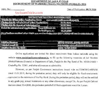 Punjab Police Recruitment notice
