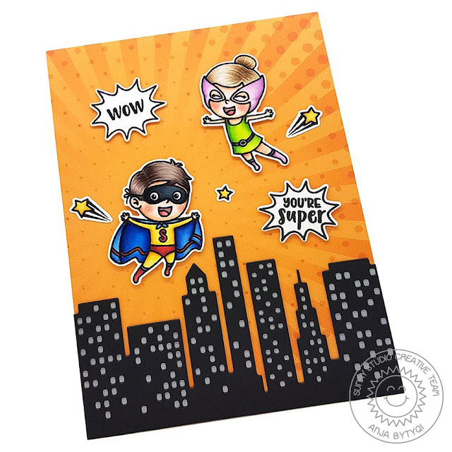 Sunny Studio Stamps: Super Duper Cityscape Border Dies Super Hero Themed Card by Anja Bytyqi