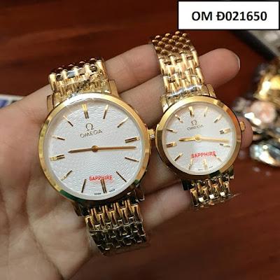Đồng hồ cặp đôi màu vàng Omega OM Đ021650