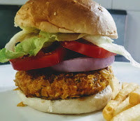Serving veg burger (veggie burger) with french fries for veg burger veggie burger recipe