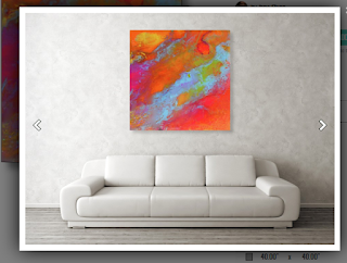 large bright colored artwork hung above a white couch Niberu by Jane Biven