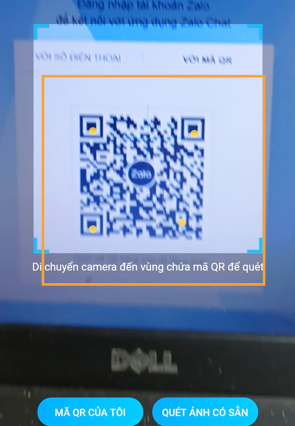 Cách 2: Đăng nhập Zalo bằng mã QR (QR CODE) e