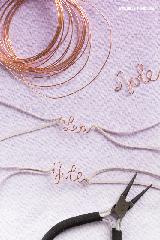 DIY Armband mit Namen aus Draht biegen für Junggesellinnenabschied