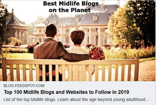 Honoured to be included in this list of 100 Midlife blogs to follow in 2019 - https://blog.feedspot.com/midlife_blogs/