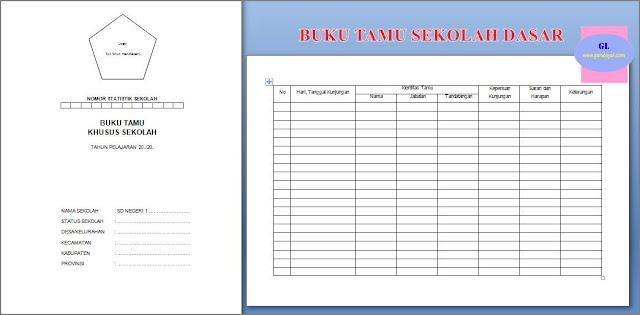 contoh atau format buku tamu sekolah dasar (jilid dan tabel)
