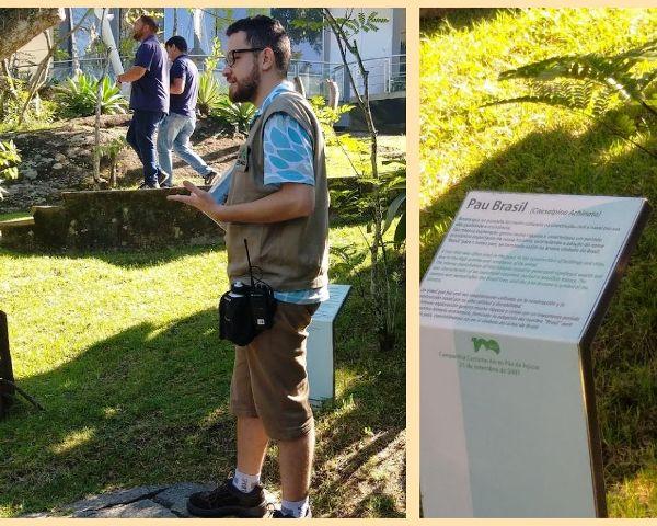 Thales, nosso monitor, no Tour Ecológico do Bondinho Pão de Açúcar, explicando sobre o Pau-Brasil