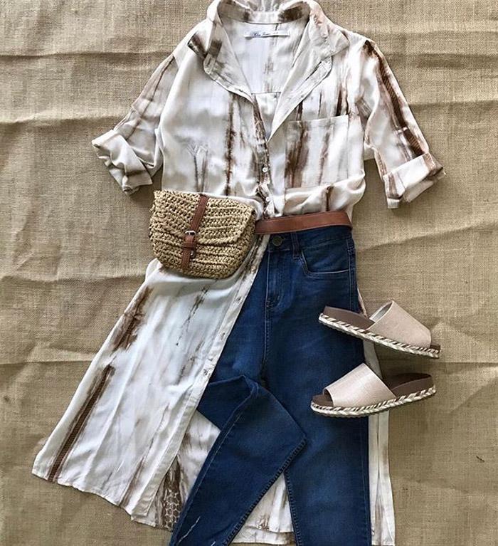 Maxicamisa y pantalon denim verano 2020 ropa de mujer. Moda verano 2020-