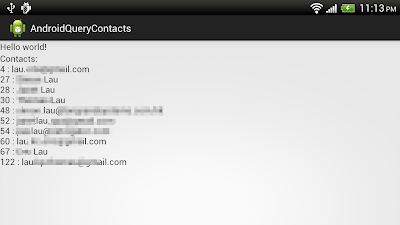 Query Contacts database, search with selection of LIKE cause.