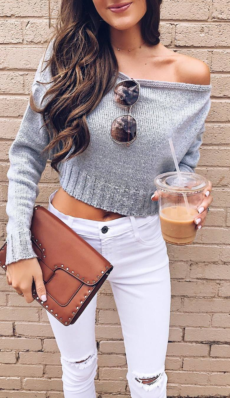 simple outfit : one shoulder knit sweater + white rips + bag
