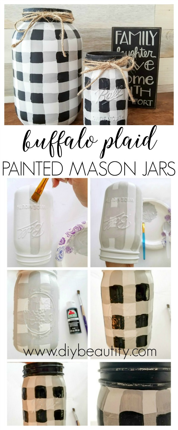 buffalo plaid painted mason jars | diy beautify
