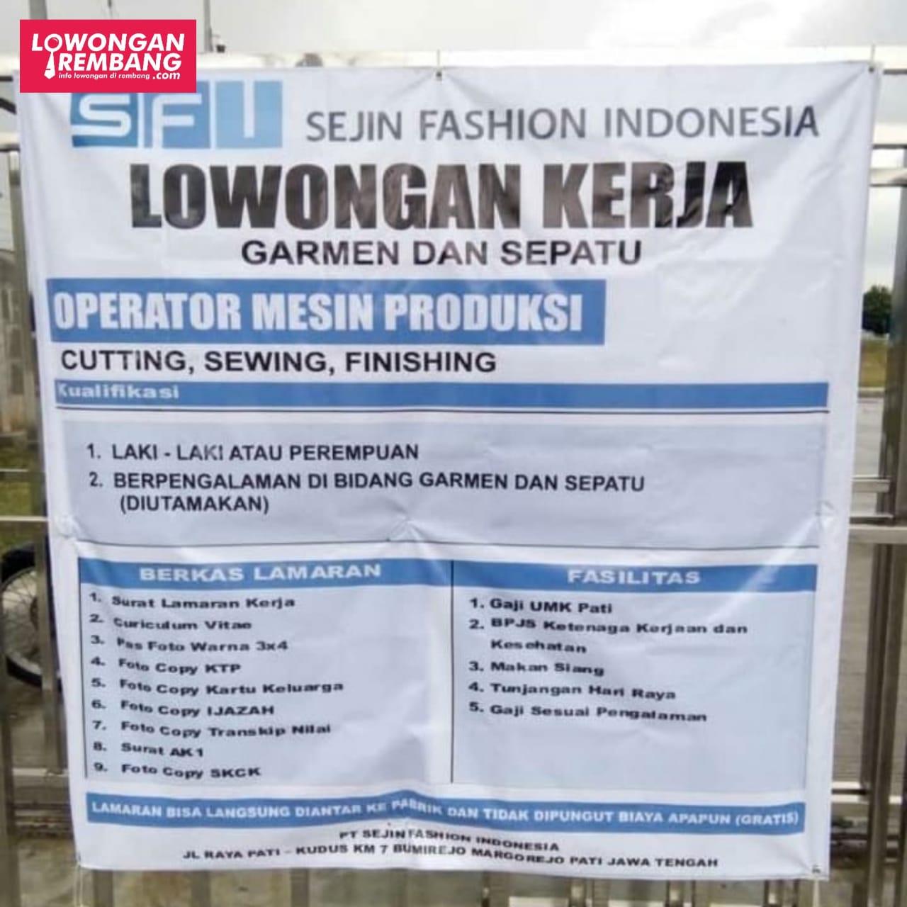 Lowongan Kerja Pegawai Sejin Fashion Indonesia Bumirejo Margorejo Pati Lowongan Rembang