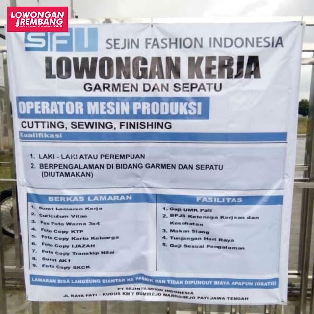 Lowongan Kerja Pegawai Sejin Fashion Indonesia Bumirejo Margorejo Pati