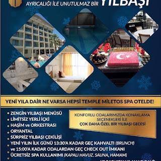 Temle Miletos Hotel Didim Aydın Yılbaşı Programı 2020 Menüsü