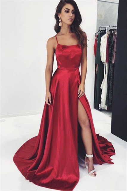 Sexy Burgundy Spaghetti-Straps Side-Slit Prom Dress