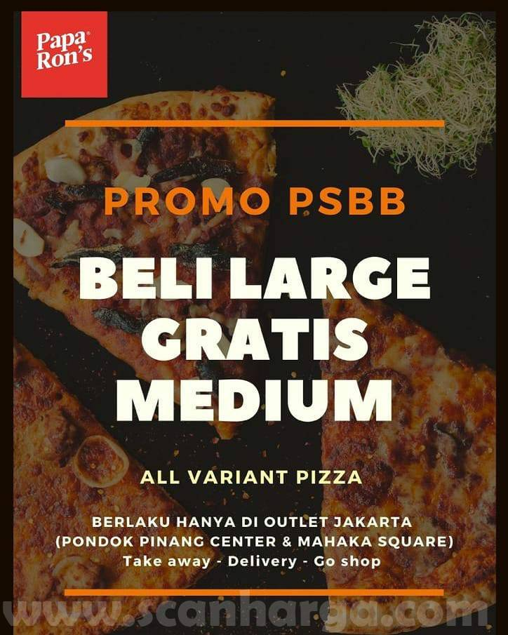 Promo Papa Ron's PSBB – Beli Large GRATIS Medium [All varian Pizza]