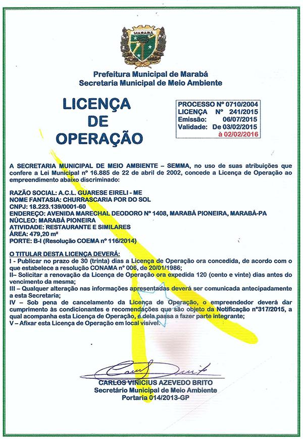 LICENÇA DE OPERAÇÃO - CHURRASCARIA POR DO SOL - MARABÁ/PARÁ