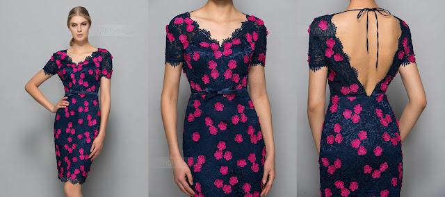 Sheath V-Neck Lace Sashes Knee-Length Formal Dress
