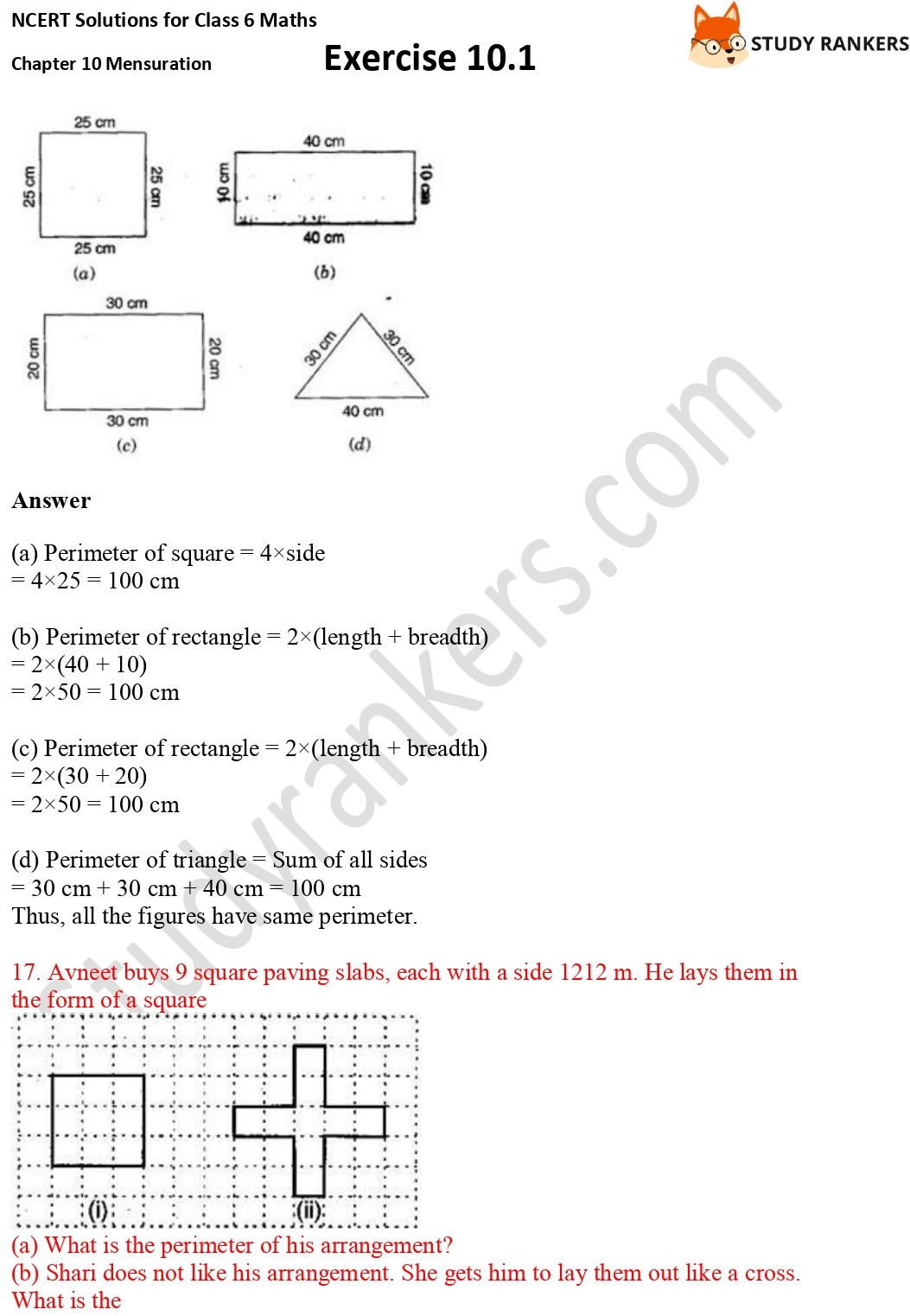 NCERT Solutions for Class 6 Maths Chapter 10 Mensuration Exercise 10.1 Part 7