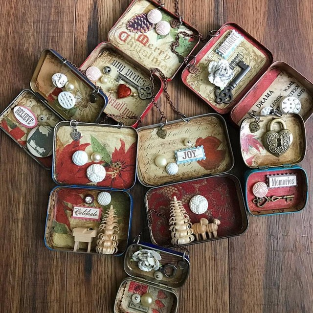 Assortment of holiday Altoid box assemblages