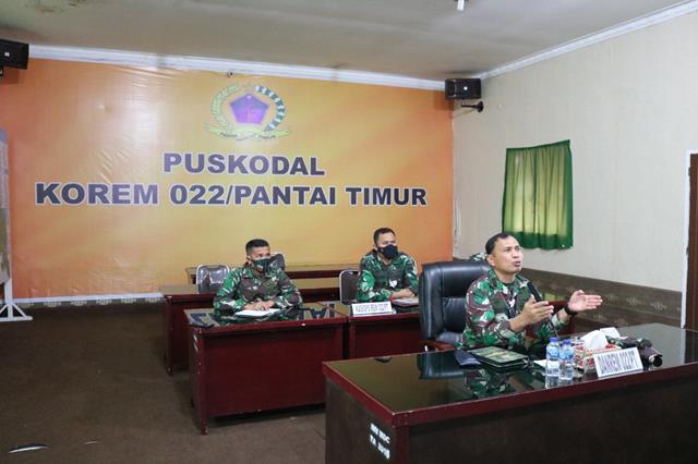 Danrem 022/PT  Pimpin Rapat Secara Virtual Operasi Penegakan Disiplin Prokes Covid-19 di wilayah  Kota P.Siantar