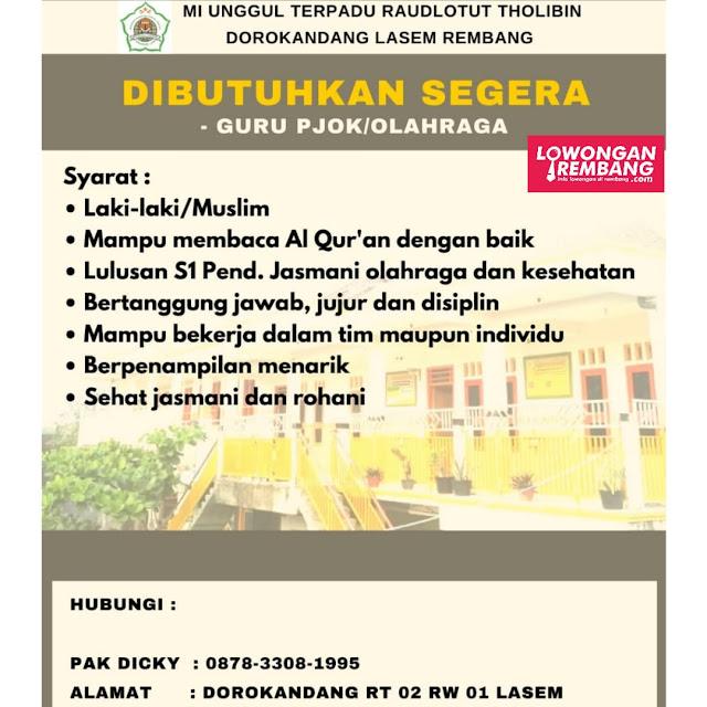 Lowongan Kerja Guru PJOK/Olahraga MI Unggul Terpadu Raudlotut Tholibin Dorokandang Lasem Rembang