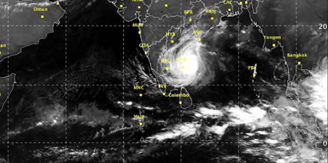 சென்னை அருகே கரையை கடக்க தொடங்கியது 'வர்தா' புயல்