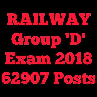 Railway Group D - 62907 Posts | रेलवे भर्ती बोर्ड ग्रुप D वेकैंसी 2018