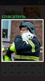 спасатель в руках несет спасенную кошку