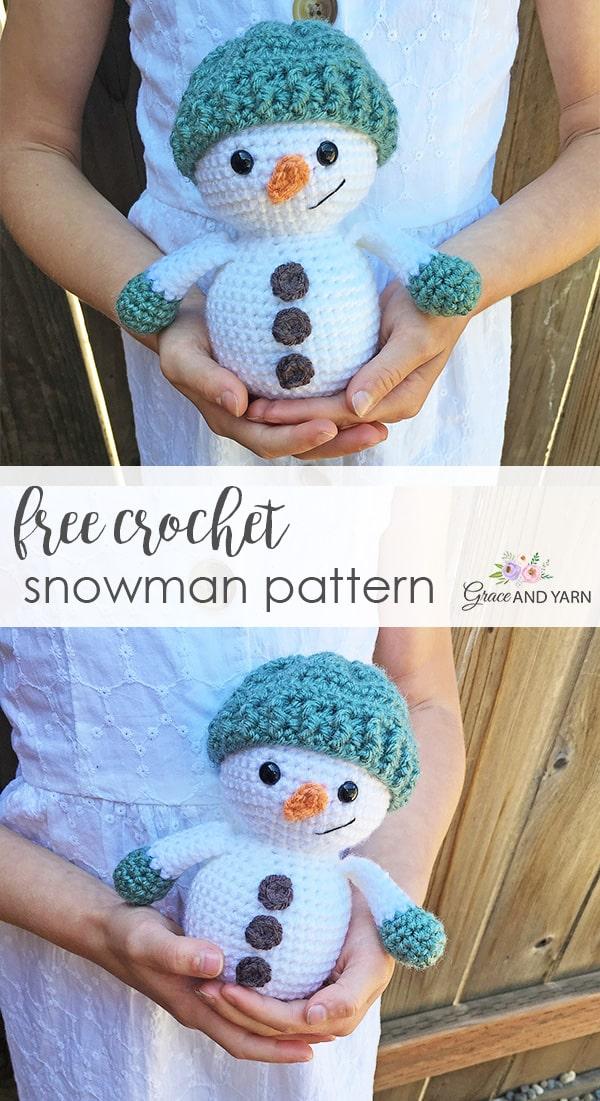 Crochet snowman free pattern | Amiguroom Toys | 1101x600