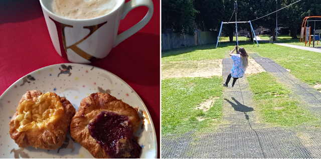 Pastries and a cuppa and my eldest on a zip wire